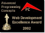 This site has won the Advanced Programming Concepts Web Design Excellence Award for 2002! Click here to read about it!